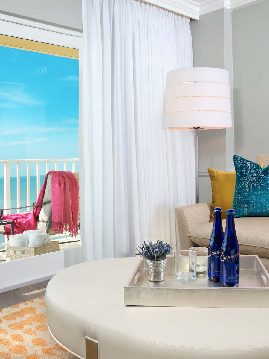 Guestroom suite with ocean view balcony